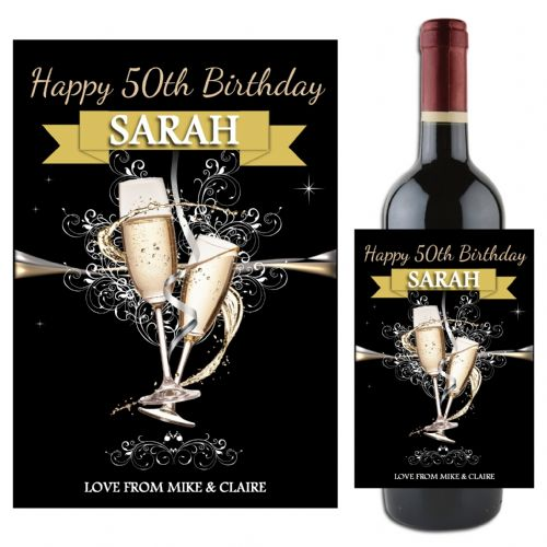Personalised Happy 18th 21st 30th 40th Birthday Wine / Champagne Bottle Label N83 - Any Age